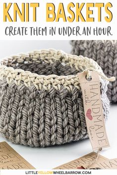Cute DIY knitted baskets you can knit up quick and easy.  This simple craft project requires a single skein of yarn and requires only basic knitting knowledge.  A perfect knitting project for beginners.  Knit up a few to give away as handmade DIY gifts.  #knitbaskets #knittingforbeginners #freeknittingpattern #easycrafts #diyprojects #easycrochet #RedHeart #knittingprojects #knittingpattern #easyknitting