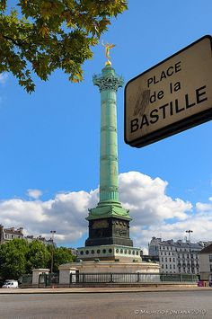 The Place de la Bastille is a square in Paris, where the Bastille prison stood until the 'Storming of the Bastille' and its subsequent physical destruction between 14 July 1789 and 14 July 1790 during the French Revolution; no vestige of it remains.