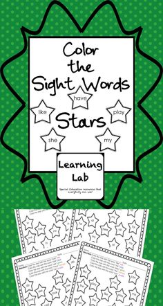 Students color the stars according to the sight words inside the stars. This product includes 4 worksheets with 5 sight words on each sheet.  Practice sight word recognition and fine motor skills with this these worksheets!