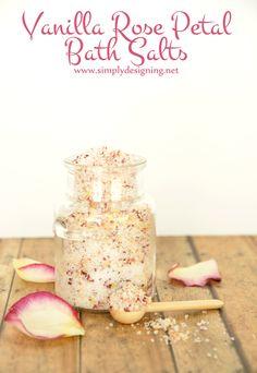 Vanilla Rose Petal Bath Salts   these homemade bath salts are so beautiful and make a perfect gift