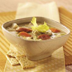 Sauerkraut Sausage Soup from Taste of Home -- shared by Yvonne Kett of Appleton, Wisconsin  #Oktoberfest