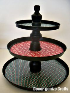 make a cupcake stand from dollar store burner covers