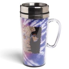 Collage portrait of the great John Lennon and tie-dye background. Double-walled insulated commuter mug.