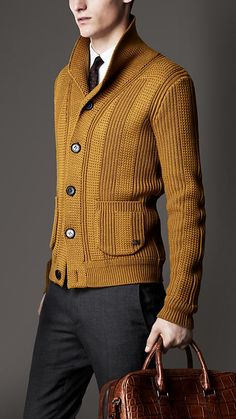Burberry London Shawl Collar Knitted Jacket. Want.