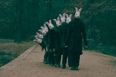 rabbit hole, animal heads, rabbits, family photos, masks, donnie darko, inspiring pictures, easter bunny, photography