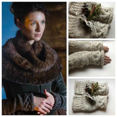 Claire's gloves, as seen in episodes of Outlander. Gorgeous soft luxurious Oatmeal wool cable knit fingerless gloves. $50