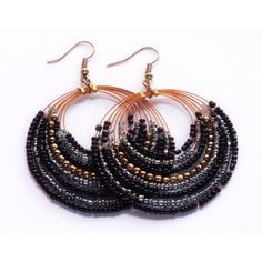 Black with Golden Bead Earring