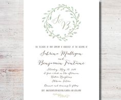 Wreath Wedding Invitation Wedding by SimplyFetchingPaper on Etsy, $18.00