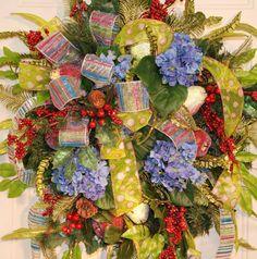XXL Blue Hydrangea Christmas Door Wreath Many by LadybugWreaths, $189.97