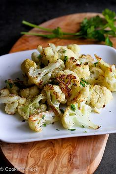 Spicy Roasted Cauliflower with Rosemary Recipe | cookincanuck.com #vegetarian #vegan
