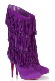 Forever Tina Fringe Purple Boots by Christian Louboutin