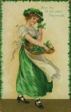 "Lovely vintage St Patrick's Day postcard, ""O the green Shamrock"" circa 1910."