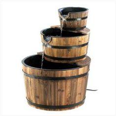 water fountain, idea, wood, barrels, outdoor, barrel fountain, appl barrel, apples, garden fountains