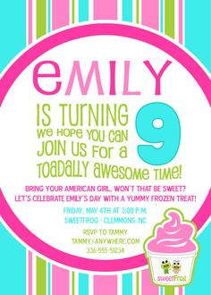 birthday parti, invit idea, girl parties, frog, party invitations, birthday invitations, parti idea, american girl birthday, american girls