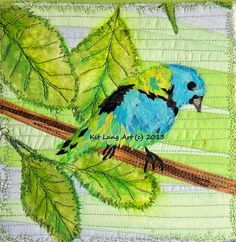 Green-Headed Tanager (c) 2012 Kit Lang. The Art Quilt Blog