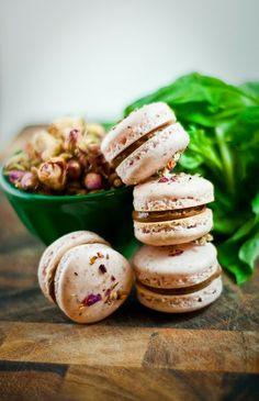 Desserts for Breakfast: Rose and Basil-Dark Chocolate Macarons