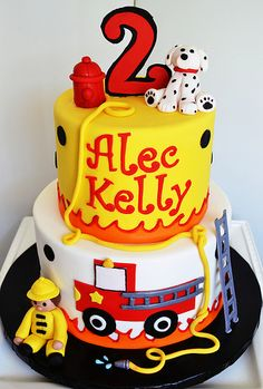 Fireman / Firefighter Cake with fondant fire hydrant and Dalmatian; by Simply Sweet Creations (www.simplysweetonline.com)