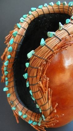 Gourd Pine Needles Gourd Art Turquoise Aqua by LilyWhiteGourdPatch, $54.95