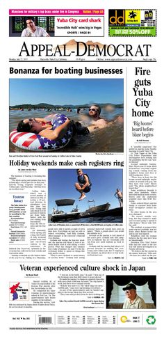 Appeal-Democrat front page for Monday, July 22, 2013.