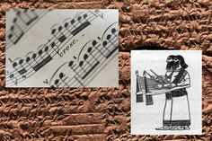 Ancient Song Recreated From 3,400-Year-Old Cuneiform Tablets...An example of the type of instrument that would have been used to play the Hurrian hymn, a rendering of an ancient Babylonian santur. (Wikimedia Commons) Left: Sheet music (Thinkstock) Background: Cuneiform tablet (Shutterstock*)