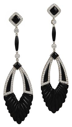 Art Deco Platinum Diamond & Onyx Earrings