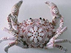 lovely textiles: joana vasconcelos joanavasconcelo, lace, crochet wraps, crochet crab, artist, joana vasconcelo, sculptur, textile art, crabs