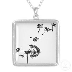Tiny Dandelion Drawing Necklaces