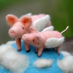 When Pigs Fly Together - Needle Felted  Pin Cushion - Mama and Baby Flying Pigs. $80.00, via Etsy.