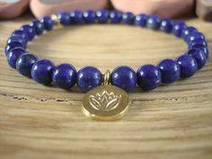 Lapis Lazuli and Gold Lotus Bracelet