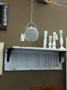 decor, old shutters repurposed, living room wall shelves, idea, craft, diy old shutters, shuttershelv, hous, shutter shelves
