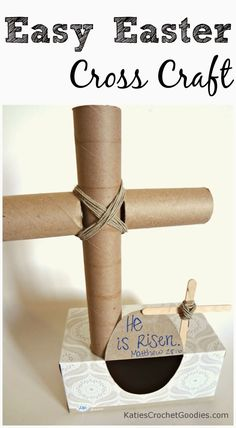 Easy Religious Crafts for Easter:  Toilet paper roll cross craft / paper towel roll cross craft for kids