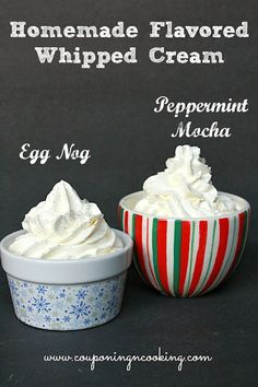 Just in time for the holidays! How To Make Homemade Holiday Flavored Whipped Cream {couponingncooking.com} #yum #sweets #whippedcream
