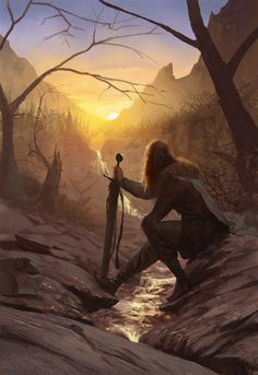 A #fantasy warrior looking on a sunrise in the mountains.