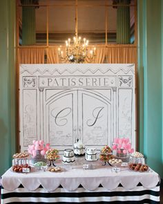 hand-painted backdrop for French patisserie dessert table
