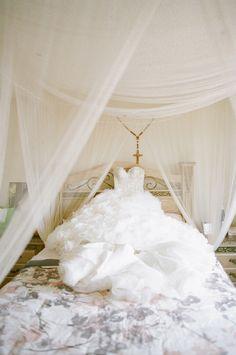 fluffy wedding gown // photo by Valentina Glidden // http://ruffledblog.com/elegant-orange-county-wedding