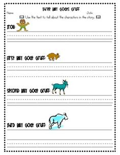 Three Billy Goats Gruff - Describe the Characters - Common Core