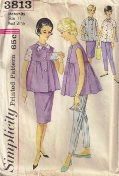 Vintage 1960s Maternity Blouse, Skirt and Pants Sewing Pattern