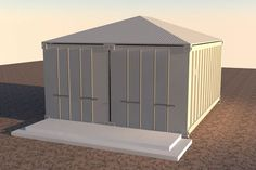 2x20-foot-container-house-v1 exterior doors closed