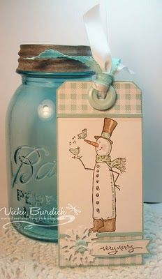 snow man tag #crafts #scrapbooking #cardmaking #rubberstamping