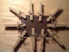 Set of 10, Burlap wedding decor, burlap clothes pins, burlap banner holder