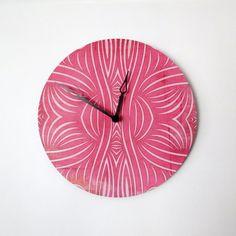 Wall Clock Retro Wall Clock  Pink Clock Home and by Shannybeebo, $47.00