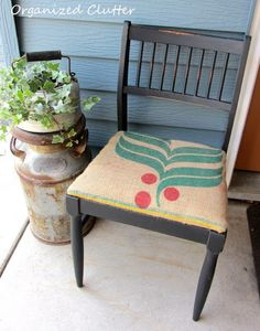 Three Dollar Garage Sale Chair Painted with Rustoleum Chalkboard Paint.  Coffee Sack Seat.