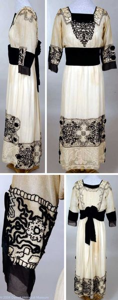Dress, circa 1915-1918. Very sheer cloth, loosely woven of fine, ecru-colored thread. Square neckline, black velvet yoke. Shoulders back and front center embroidered w/heavy black and white silk floss; heavy white lace. Bodice gathered to waist; long, loose sleeves whose cuffs are decorated w/black velvet, black chiffon, and same black and white embroidery. Via Detroit Historical Society.