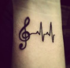 Heartbeat tattoo music notes wrist