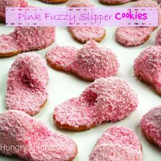 Pink Fuzzy Slipper Cookies Nutter Butter soles, peanut butter fudge slipper, and pink white chocolate fuzz.  From HungryHappenings.com