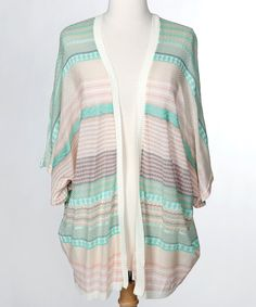 Look at this Mint Chip Stripe Open Cardigan - Women