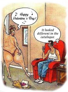 adult humour cards | ... for Valentines Day is much smaller than his wife, a funny cartoon