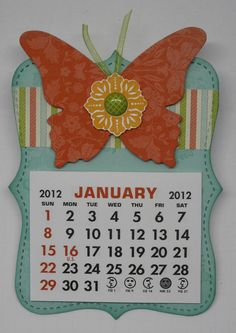 2012 Calendar idea using Stampin'Up!'s Top Note, Beautiful Butterflies die and Sale-a-bration paper