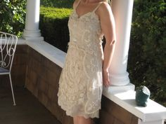 upcycled beige lace free form slip dress