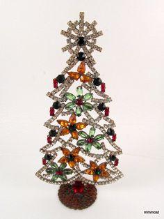 "Vintage Czech Rhinestone Christmas Tree Free Standing 6 25"""